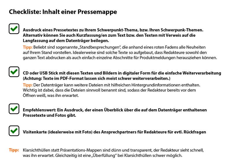 Checkliste Inhalt einer Pressemappe (Bild: rbs)